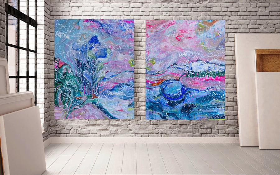 Duo of Original Paintings, Abstract Landscape, Acrylic Painting - Davina Shefet Art Store