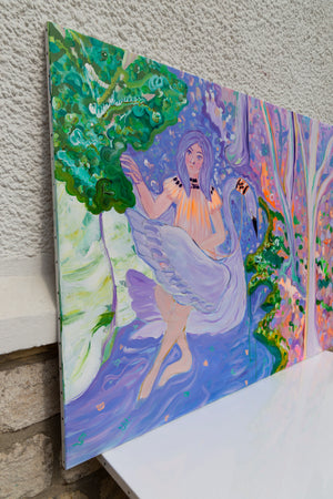 "Original Painting ""Girl and purple water"""