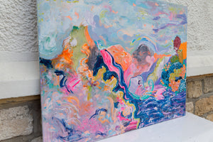 The Queen Saba and pink dolphins, original painting