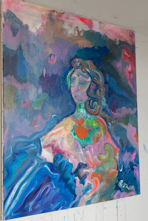 Original Painting on Canvas, Mozart Portrait - Davina Shefet Art Store