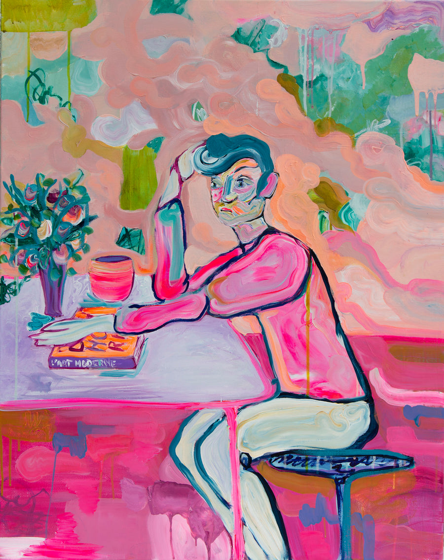 Contemporary Portrait of Boy in Café - Davina Shefet Art Store