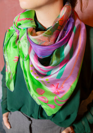 Silk Scarf of Girl and Swan