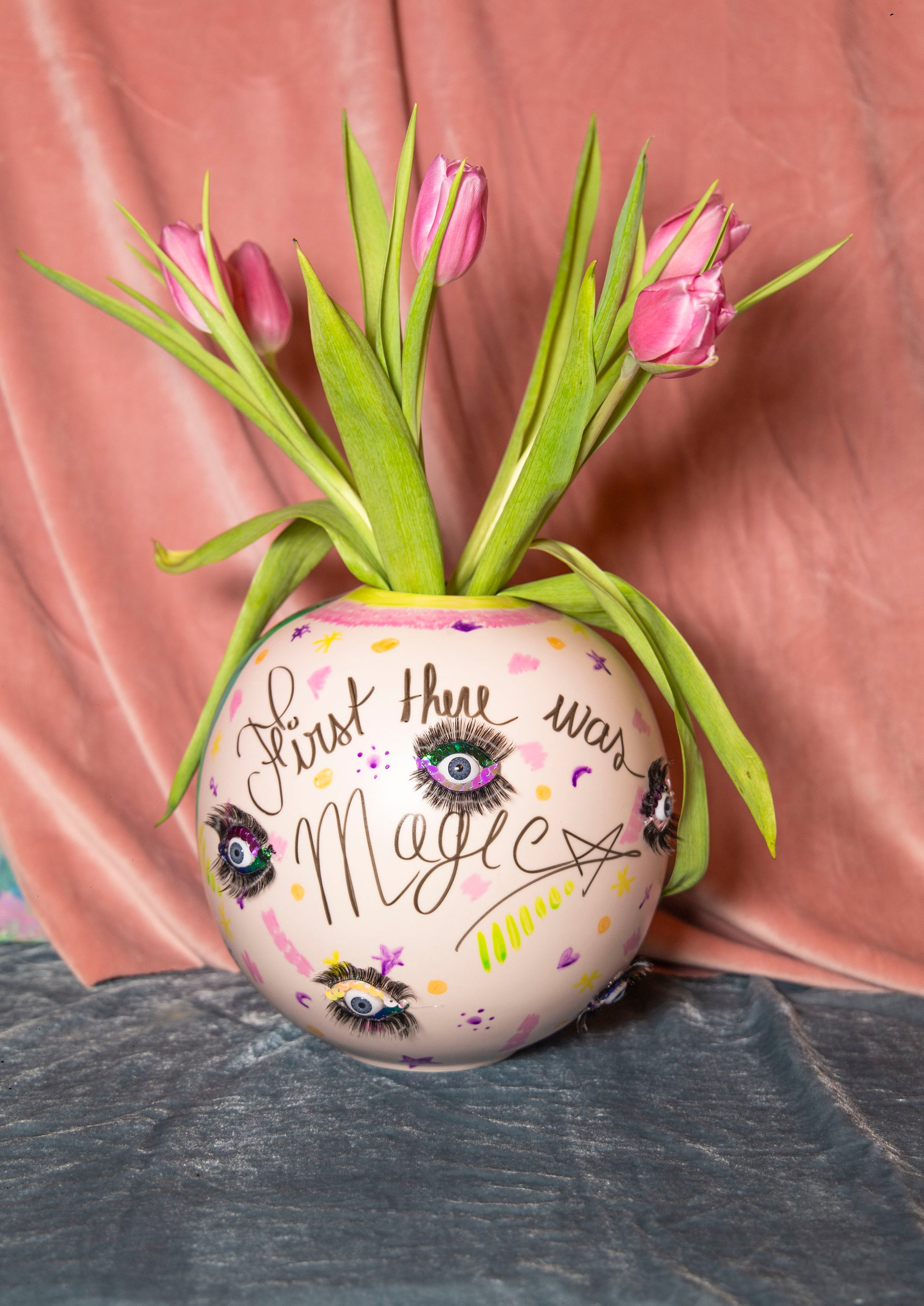 "Ceramic Vase ""First There Was Magic"" - Unique Piece"