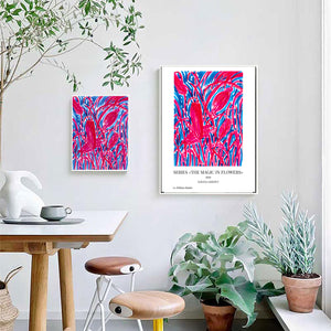 Art Print of Flower Drawing, Blue and Red