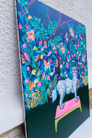 Royal Dog and Flowers Original Painting