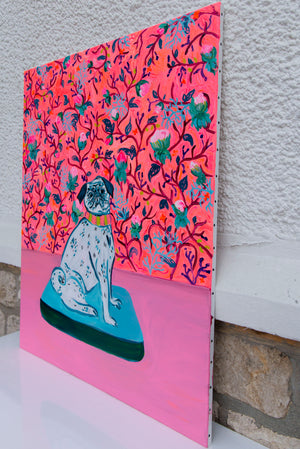 Pink Flowers And Pug Canvas - Davina Shefet Art Store
