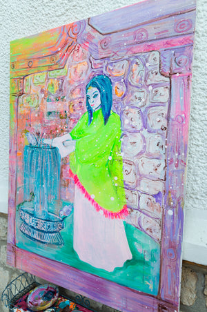 Painting of woman and Mediterranean Fountain - Davina Shefet Art Store
