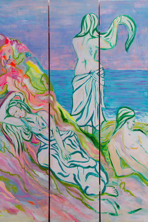 Painted Room Divider, Women at the beach and Dreaming woman