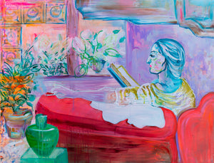 Painting of reading woman, bohemian home - Davina Shefet Art Store