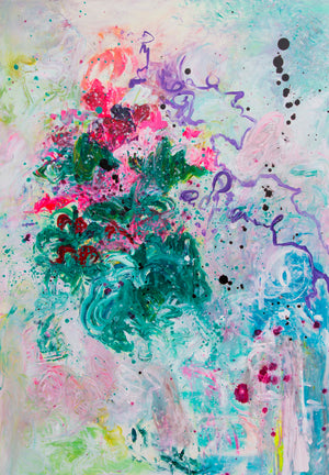 Original Painting Abstract Flowers - Davina Shefet Art Store