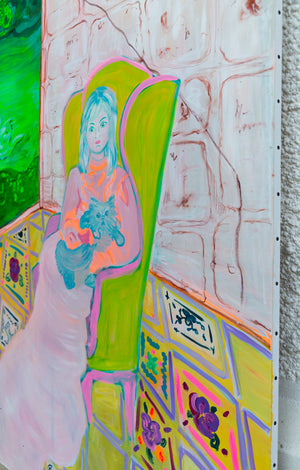 "Big Contemporary Painting of ""Woman in Green Chair"" - Davina Shefet Art Store"