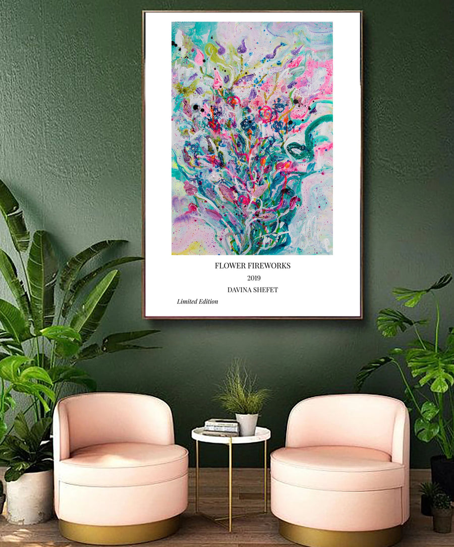 Art Print of Abstract Flowers with Title - Davina Shefet Art Store