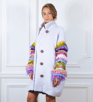 White Caban Coat - Unique Collector Piece - Davina Shefet Art Store