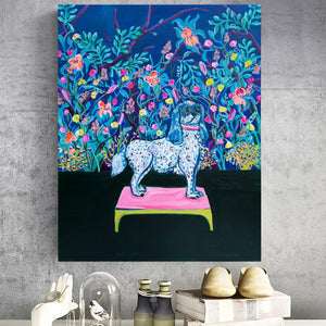 Royal Dog and Flowers Original Painting - Davina Shefet Art Store