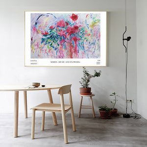 big horizontal abstract art print flowers, artist Davina Shefet