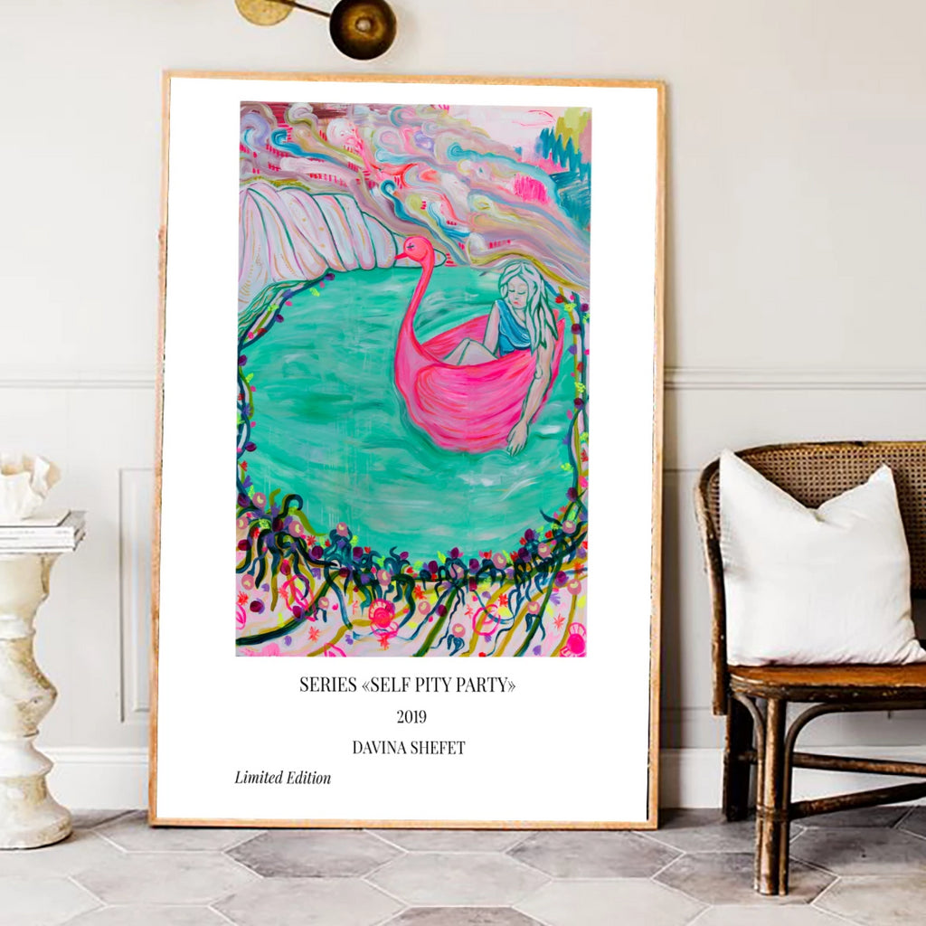 Art print, Woman in Pink Swan