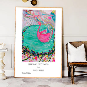 Art print, Woman in Pink Swan - Davina Shefet Art Store