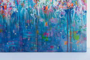 """Blue Abstract Flowers"", Series ""The Magic in Flowers"", Original painting - Davina Shefet Art Store"