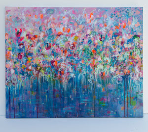 """Blue Abstract Flowers"", Series ""The Magic in Flowers"", Original painting"
