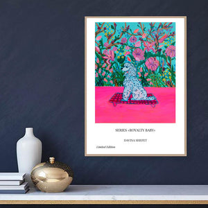 Poodle and Flowers Pink Poster