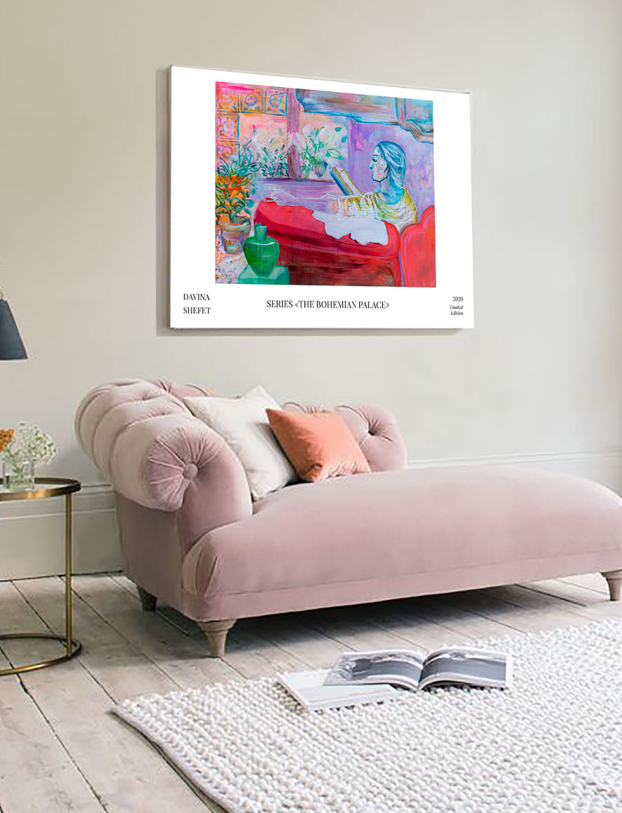 "Art Print of ""The Reader"" with title - Davina Shefet Art Store"