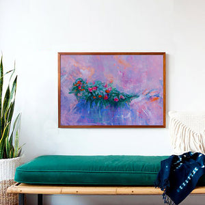 Art Print Impressionist Flowers, Pink and Red Flowers