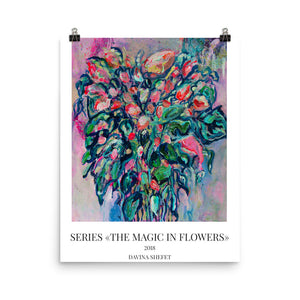 Art Print Watercolor, Ink Flower Bouquet - Davina Shefet Art Store