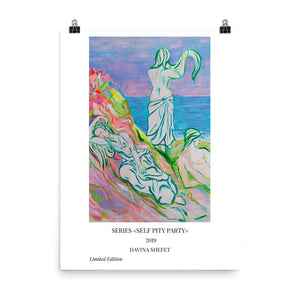 Art Print of three women at the beach with title - Davina Shefet Art Store