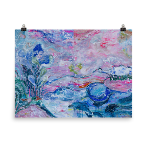 Blue and Pink Landscape Art Poster - Davina Shefet Art Store