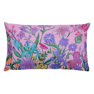 2 Sizes Pillow with filling, floral and dog print - Davina Shefet Art Store