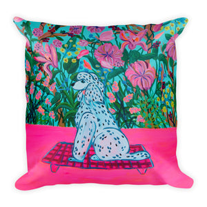 2 Sizes Pillow, Green Pattern with poodle and flowers - Davina Shefet Art Store