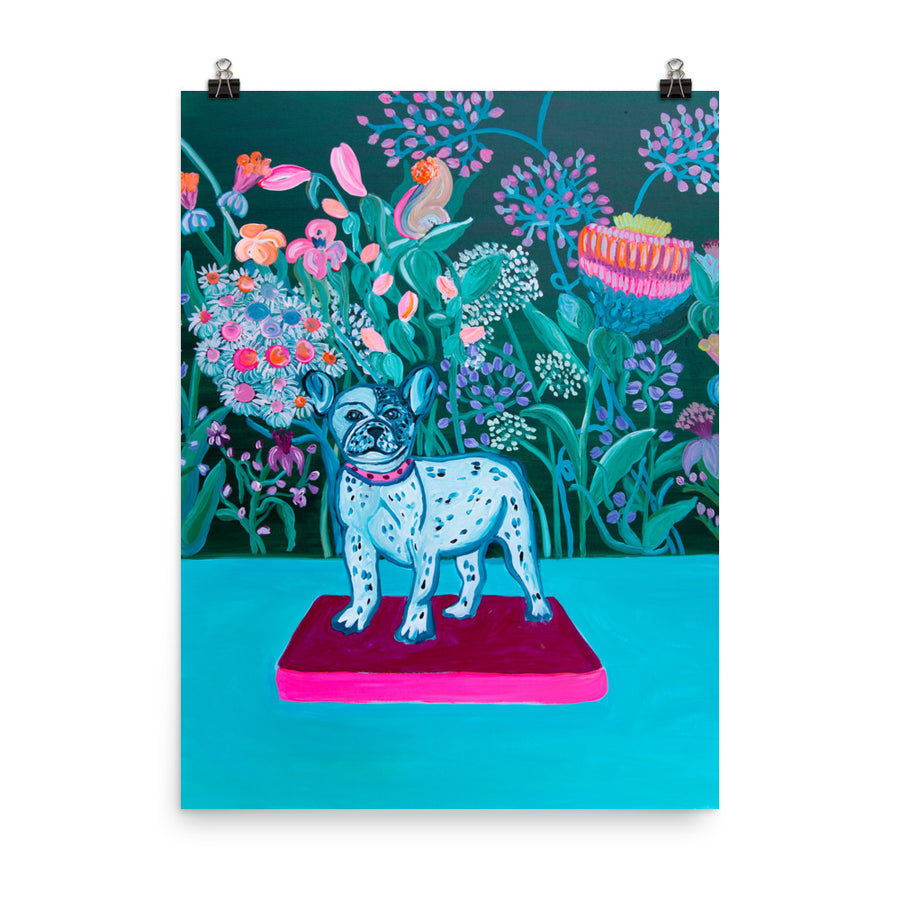 Blue Bulldog Art Print - Davina Shefet Art Store