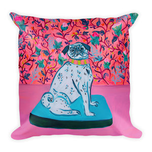 2 Sizes - Big luxurious pillow with flowers and pug - Davina Shefet Art Store