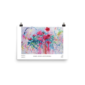 Abstract art print, flowers, horizontal art print
