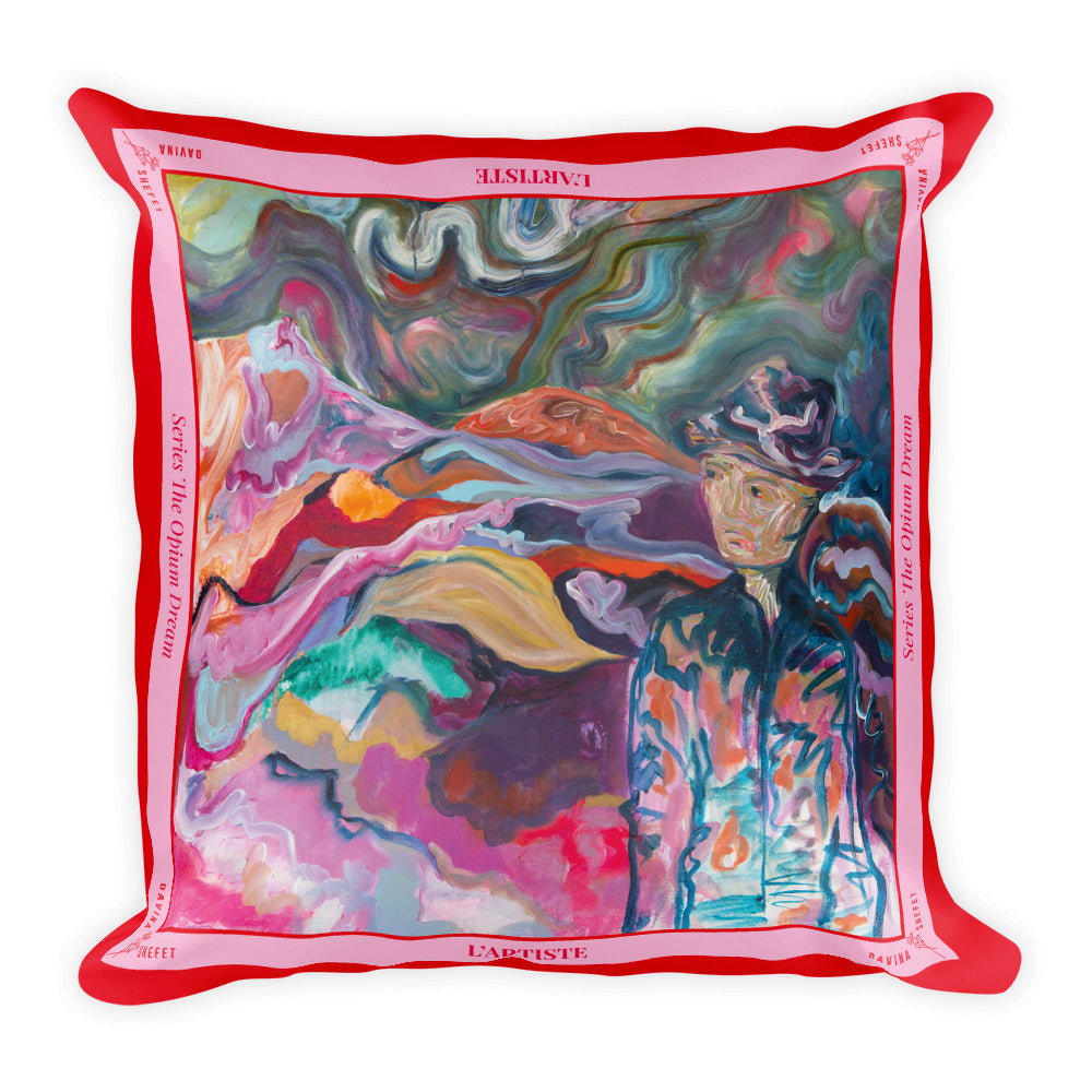 "Big Square Pillow ""The Artist"" - Davina Shefet Art Store"