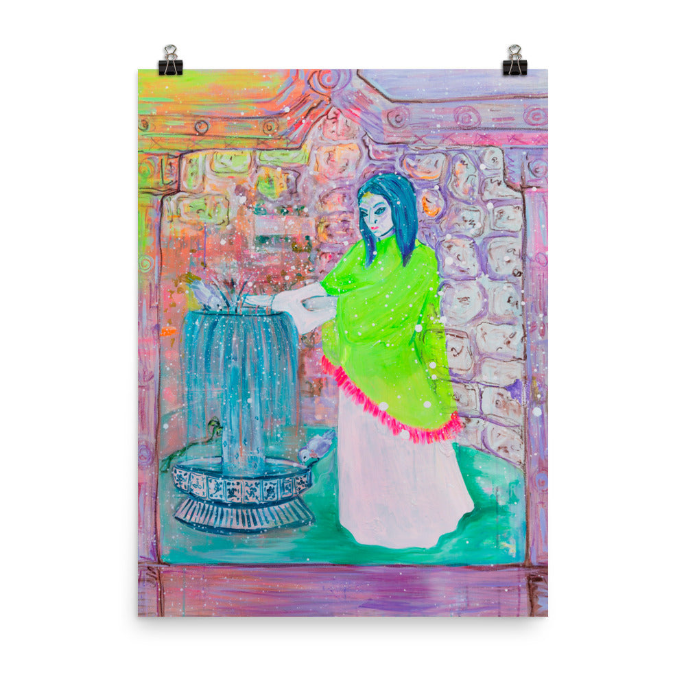 Art Print of Woman and Fountain - Davina Shefet Art Store