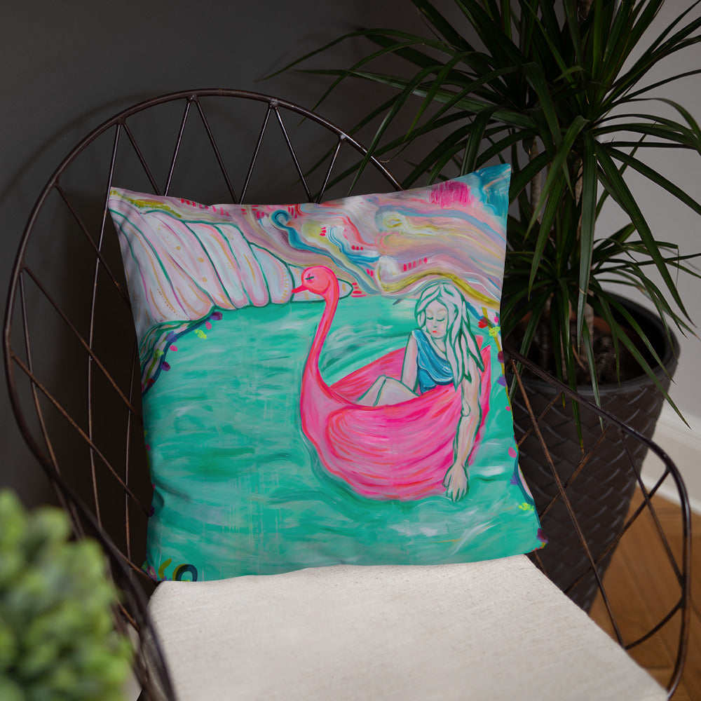 Big Pillow of Girl in Pink Swan - Davina Shefet Art Store