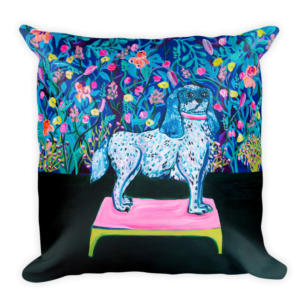 2 Sizes Pillow, Dog and Flowers Print