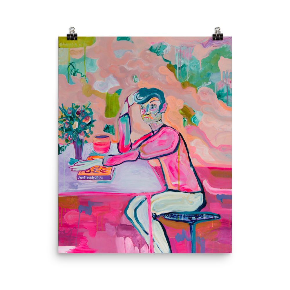 Art Print Boy in Café