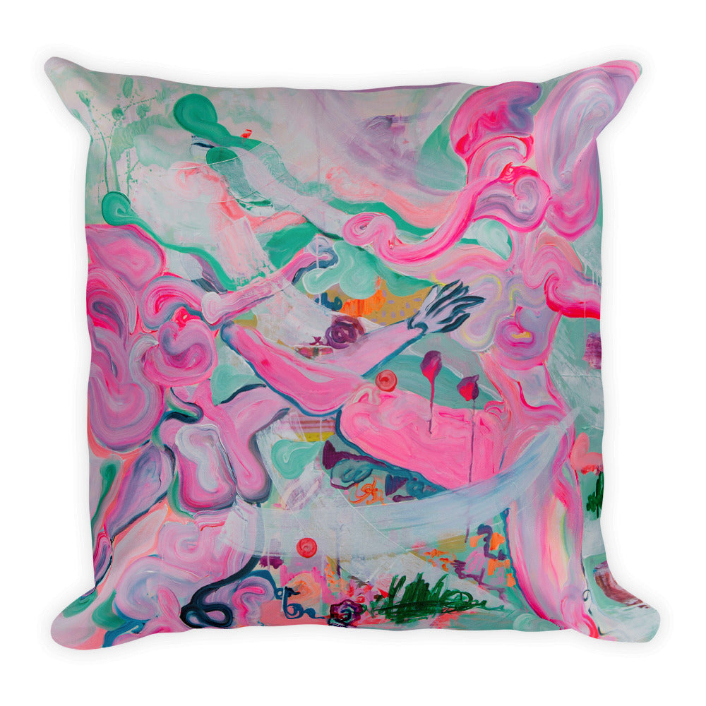 Big Pillow with Pink Elephant Ladies - Davina Shefet Art Store