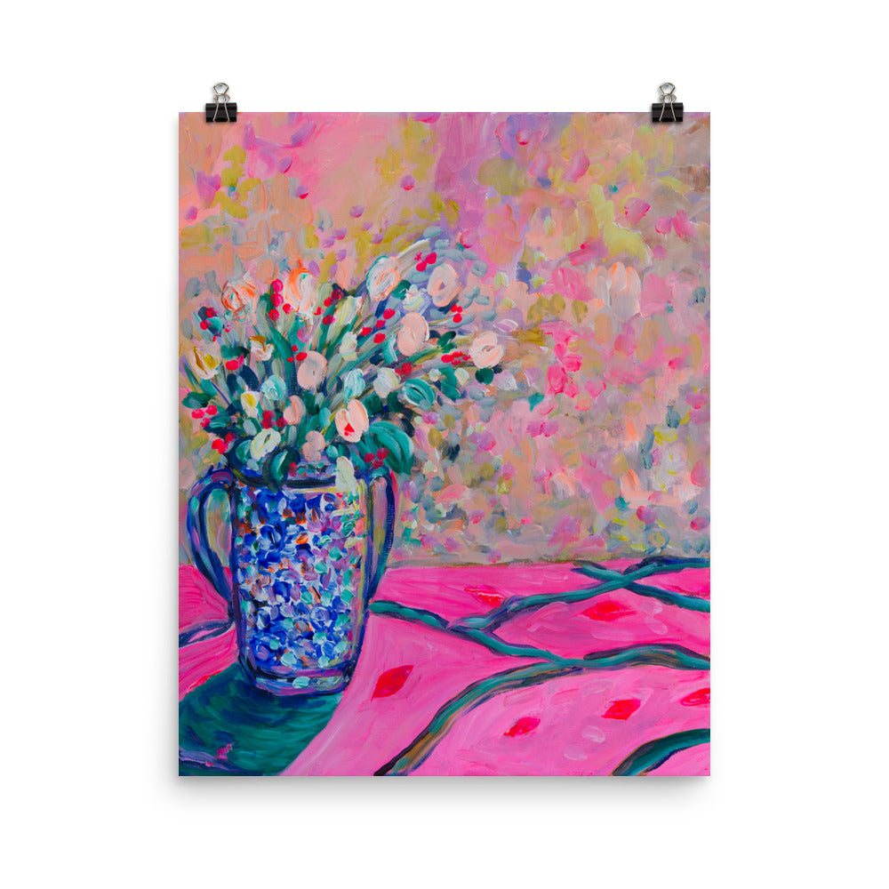 Art Print Pink Bouquet in Blue Vase