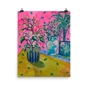 "Limited Edition Art Print, ""Pink and Yellow Bouquet"" - Davina Shefet Art Store"