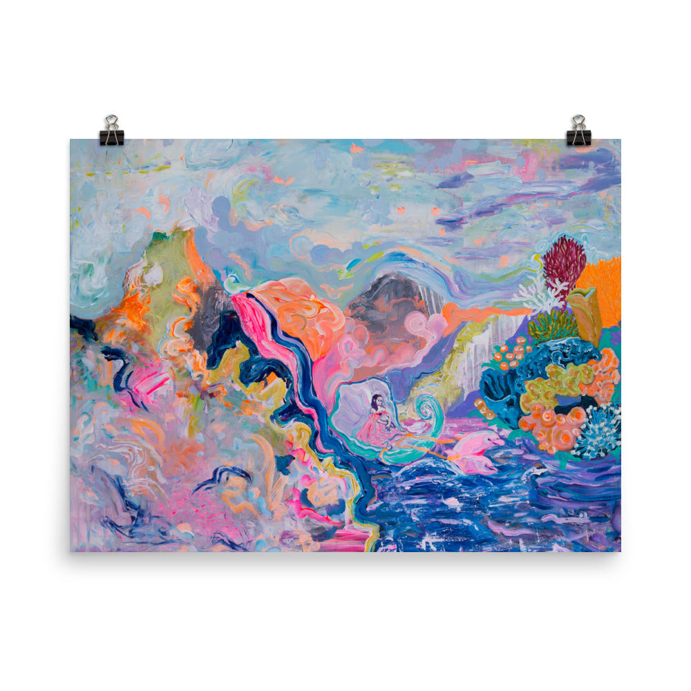 Art print, woman in shell and pink dolphins