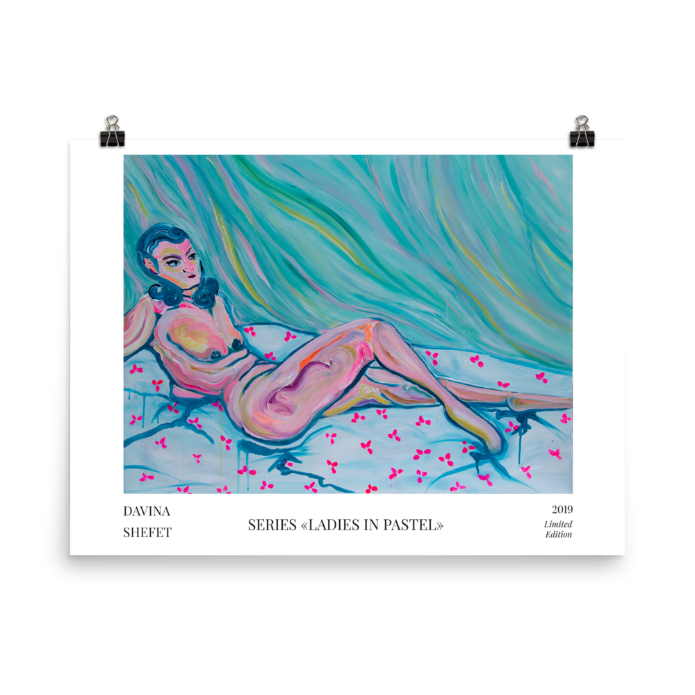 Nude Lying Woman Art Poster