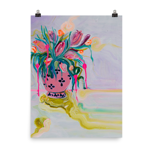 Poster of Original Painting of Flowers, Pink Vase Bouquet - Davina Shefet Art Store