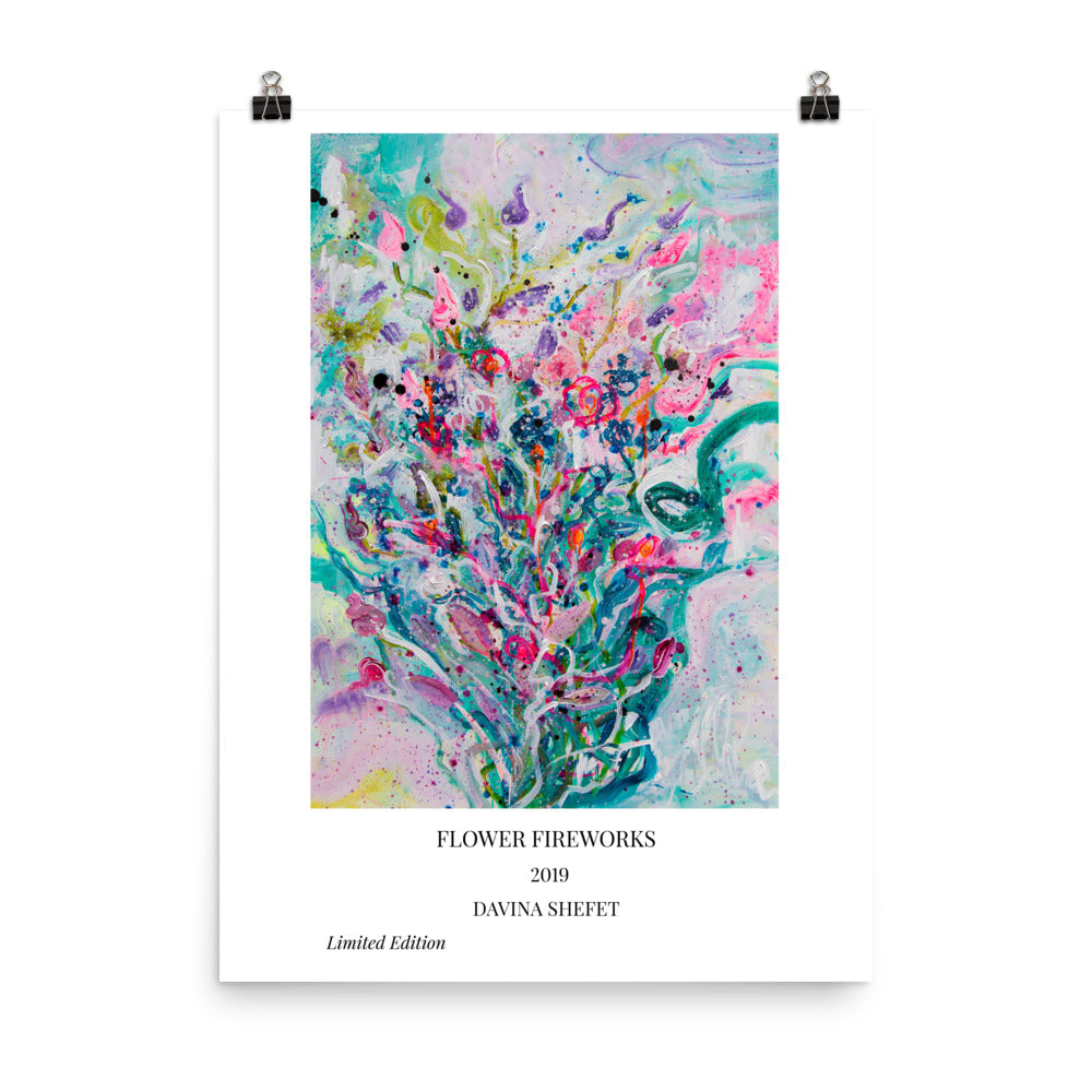 Art Print of Abstract Flowers with Title