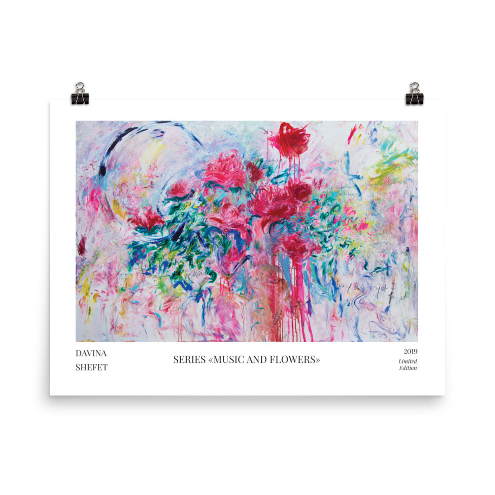 Abstract art print, flowers, horizontal art print - Davina Shefet Art Store