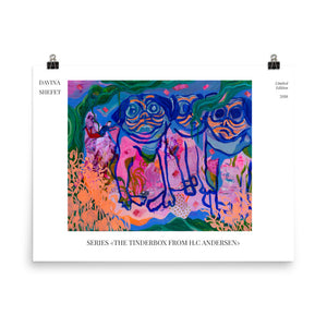 Art Print illustrating The Tinderbox, story by HC Andersen - Davina Shefet Art Store