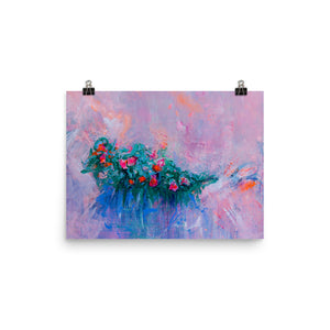 Art Print Impressionist Flowers, Pink and Red Flowers - Davina Shefet Art Store