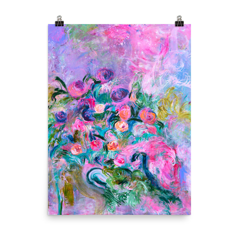 Colorful flowers art print - Davina Shefet Art Store